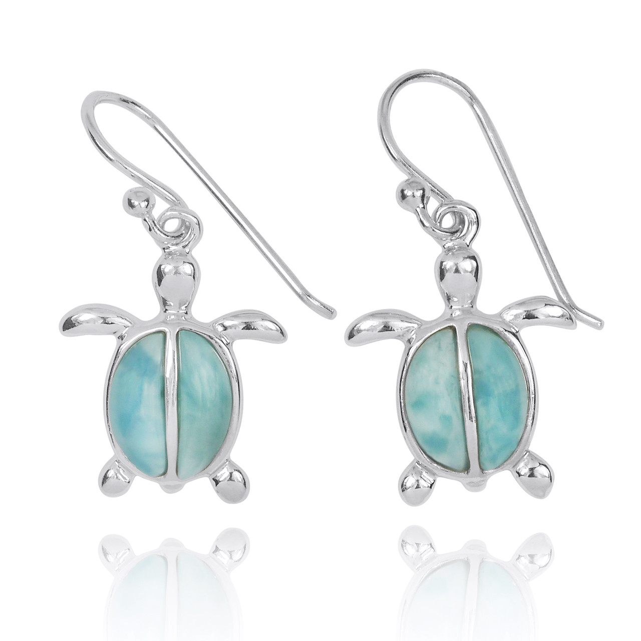 Sterling Silver Turtle French Wire Earrings with 2 Larimar Stones