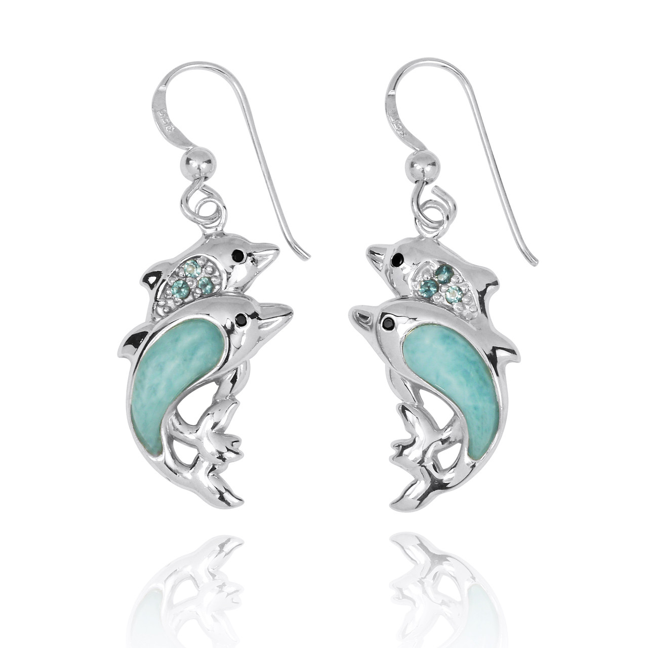 Sterling Silver Dolphin Drop Earrings with Larimar and Swiss Blue Topaz