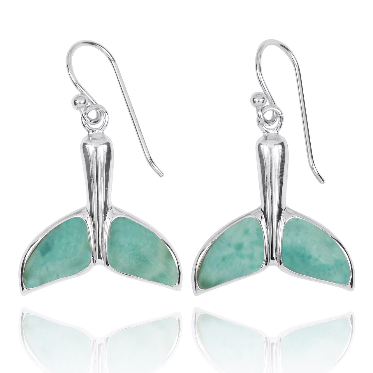 Sterling Silver Whale Tail with Larimar French Wire Earrings