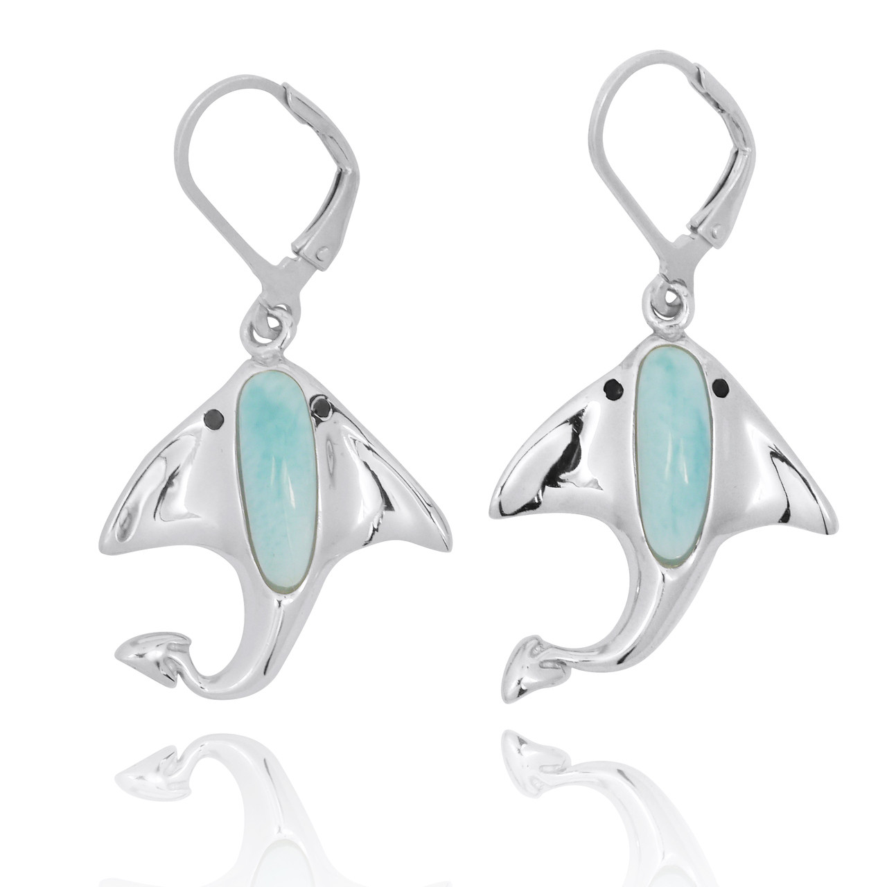 Sterling Silver Manta Ray with Larimar and Black Spinel Lever Back Earrings
