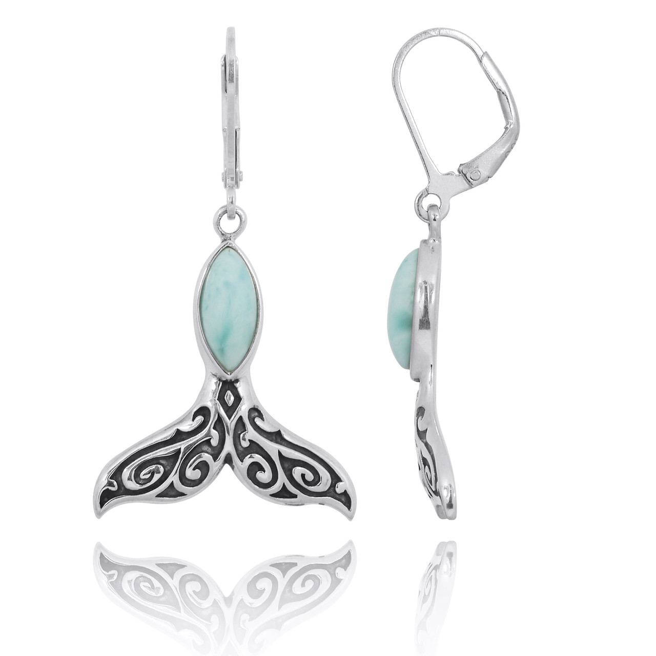 Sterling Silver Whale Tail with Larimar Lever Back Earrings
