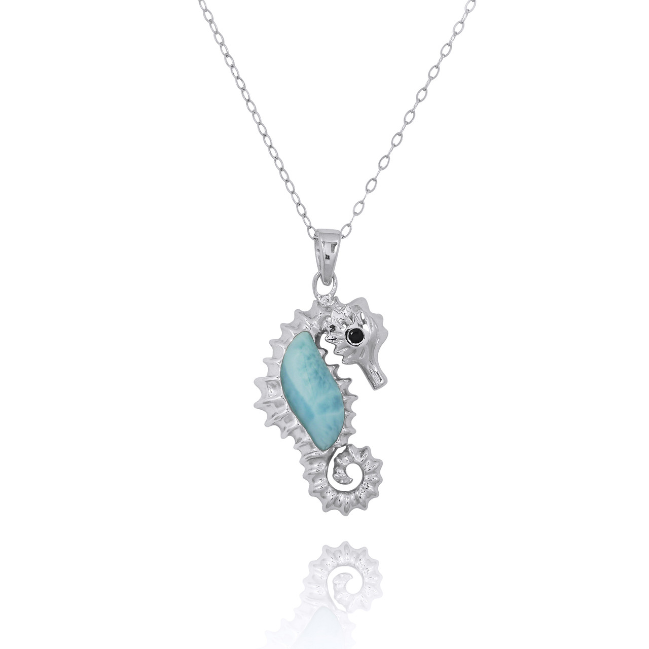 Sterling Silver Seahorse Pendant with Larimar and Black Spinel
