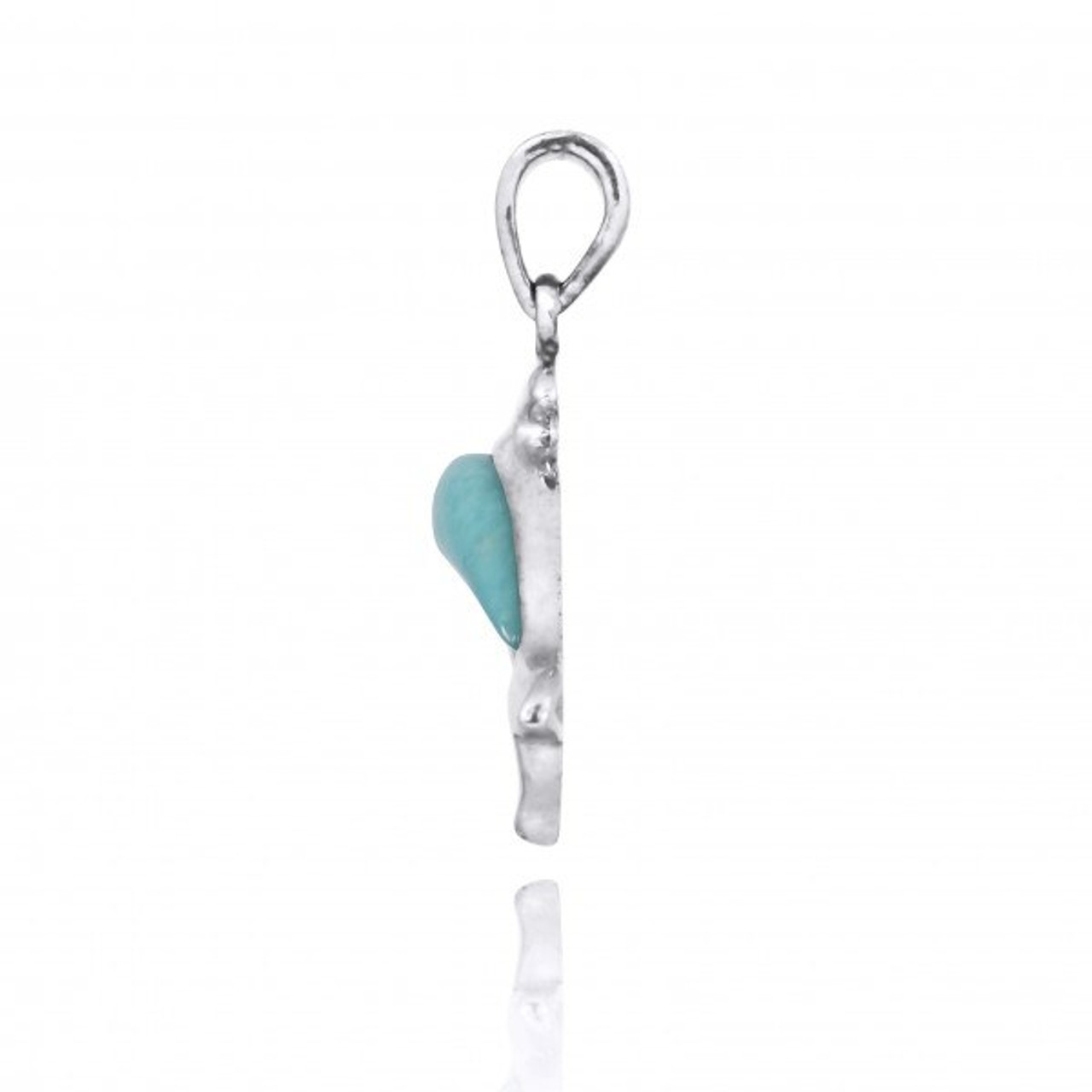 Sterling Silver Dolphin with Larimar Pendant