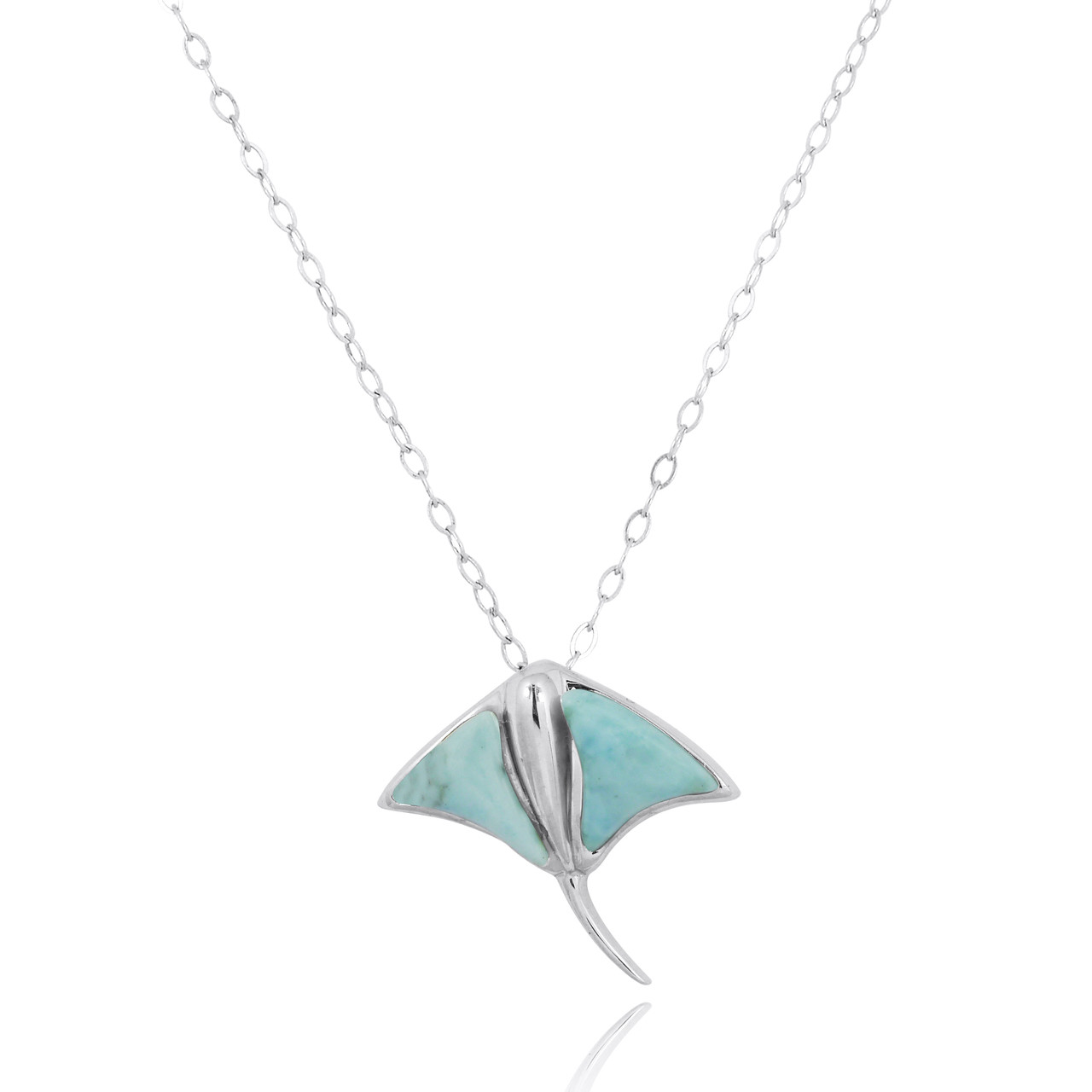 Sterling Silver Stingray Pendant with Larimar