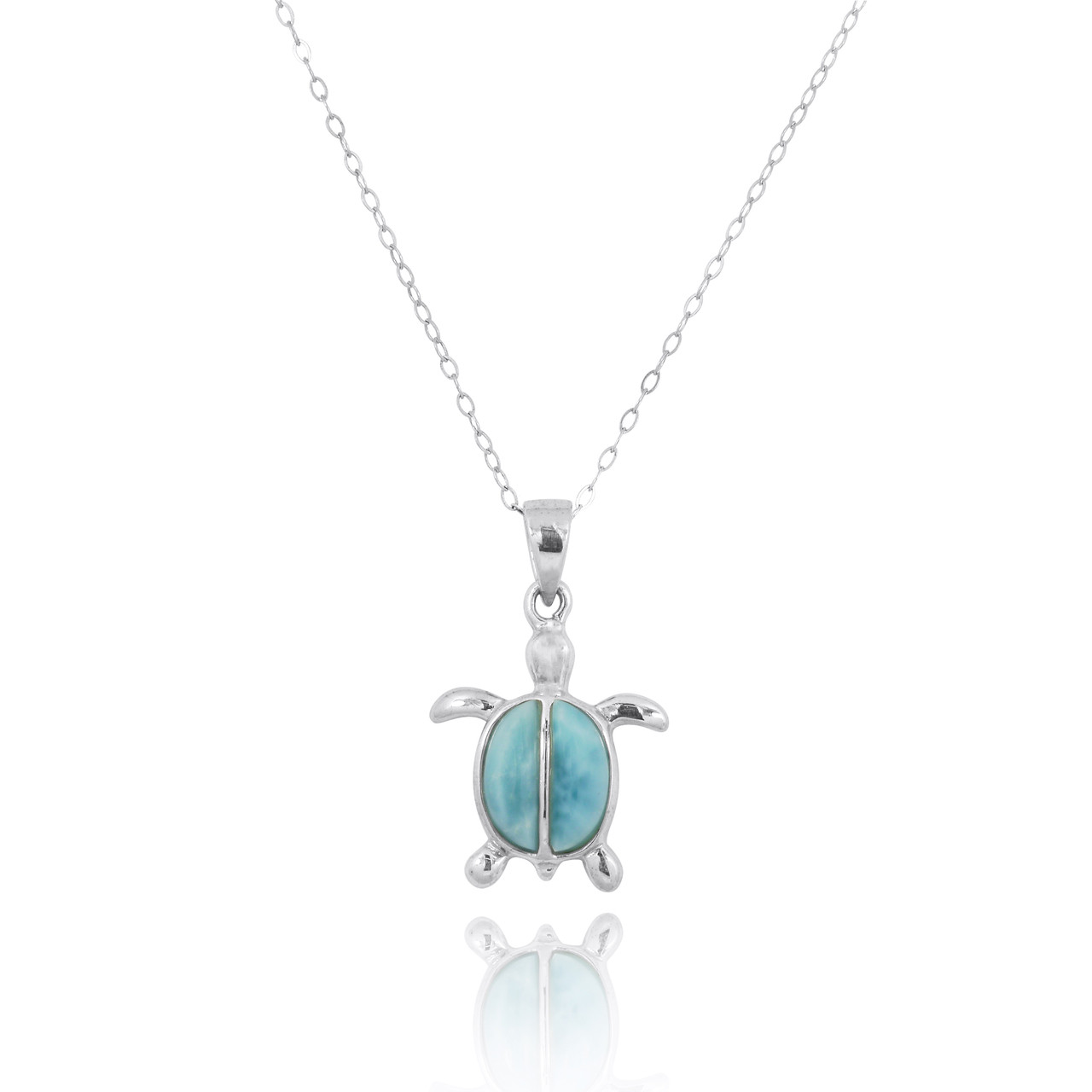Sterling Silver Turtle with 2 Larimar Stones Pendant