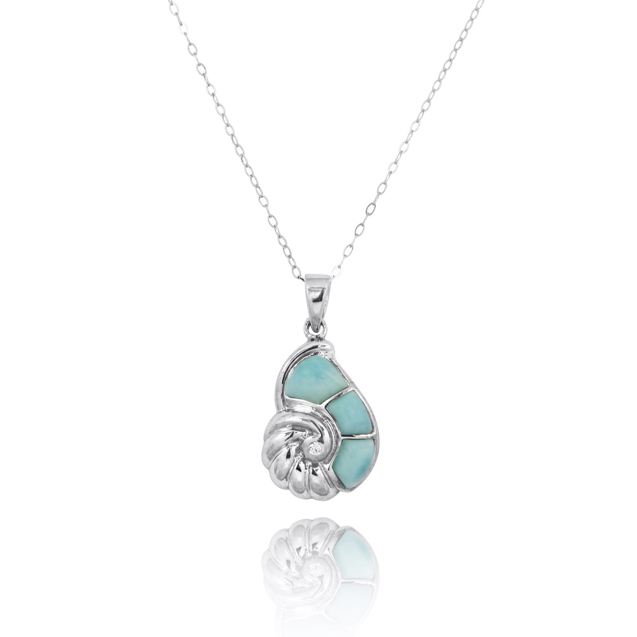 Sterling Silver Seashell with Larimar and White CZ Pendant