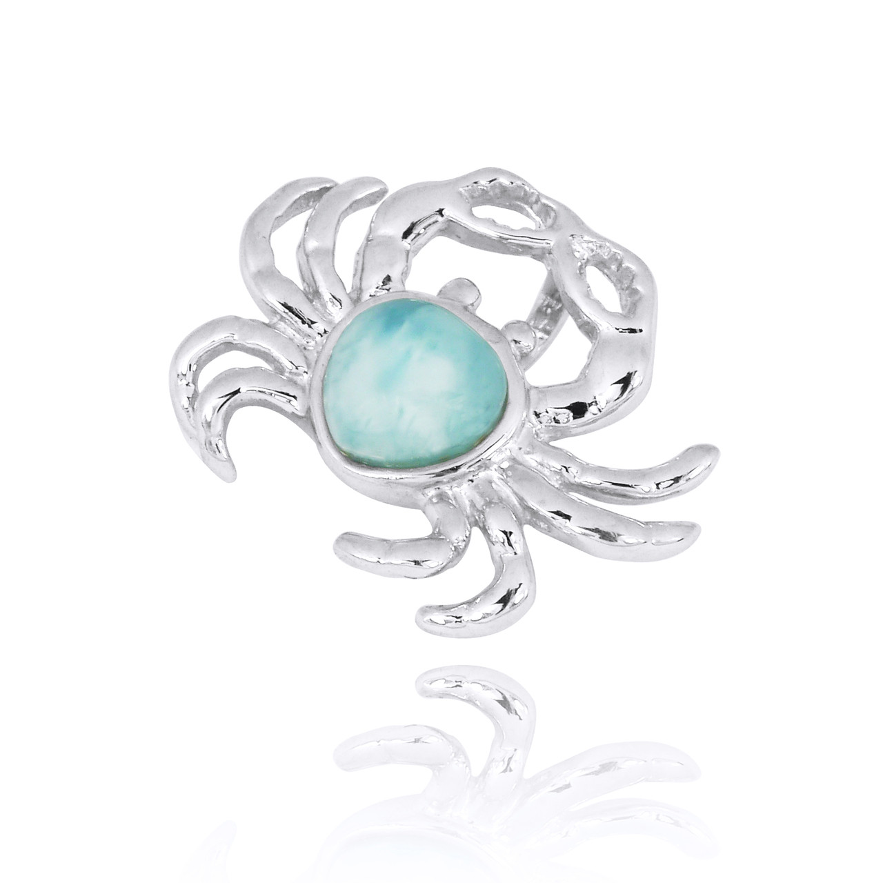 Sterling Silver Crab Pendant with Larimar