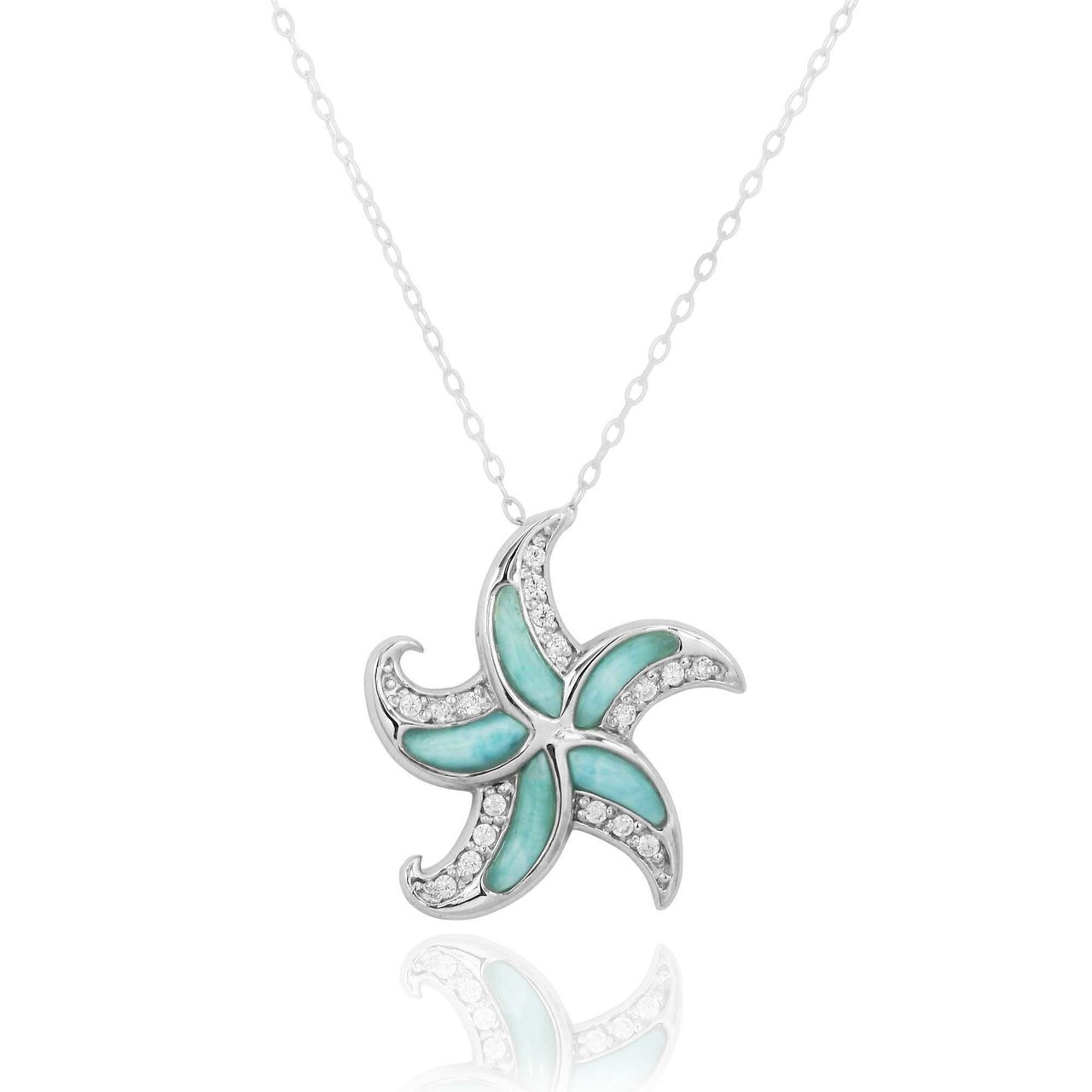 Sterling Silver Starfish with Larimar and CZ Pendant
