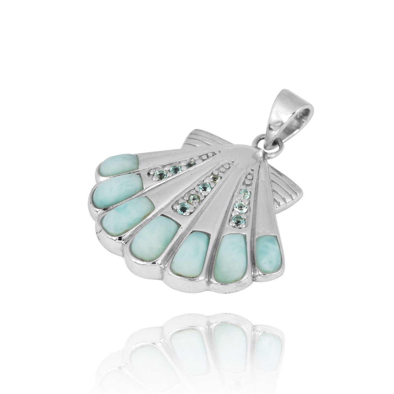 Sterling Silver Seashell with Swiss Blue Topaz Larimar Pendant