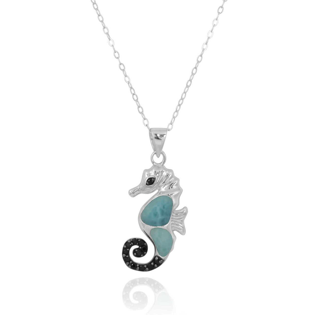 Sea Horse Pendant with Larimar and Black Spinel