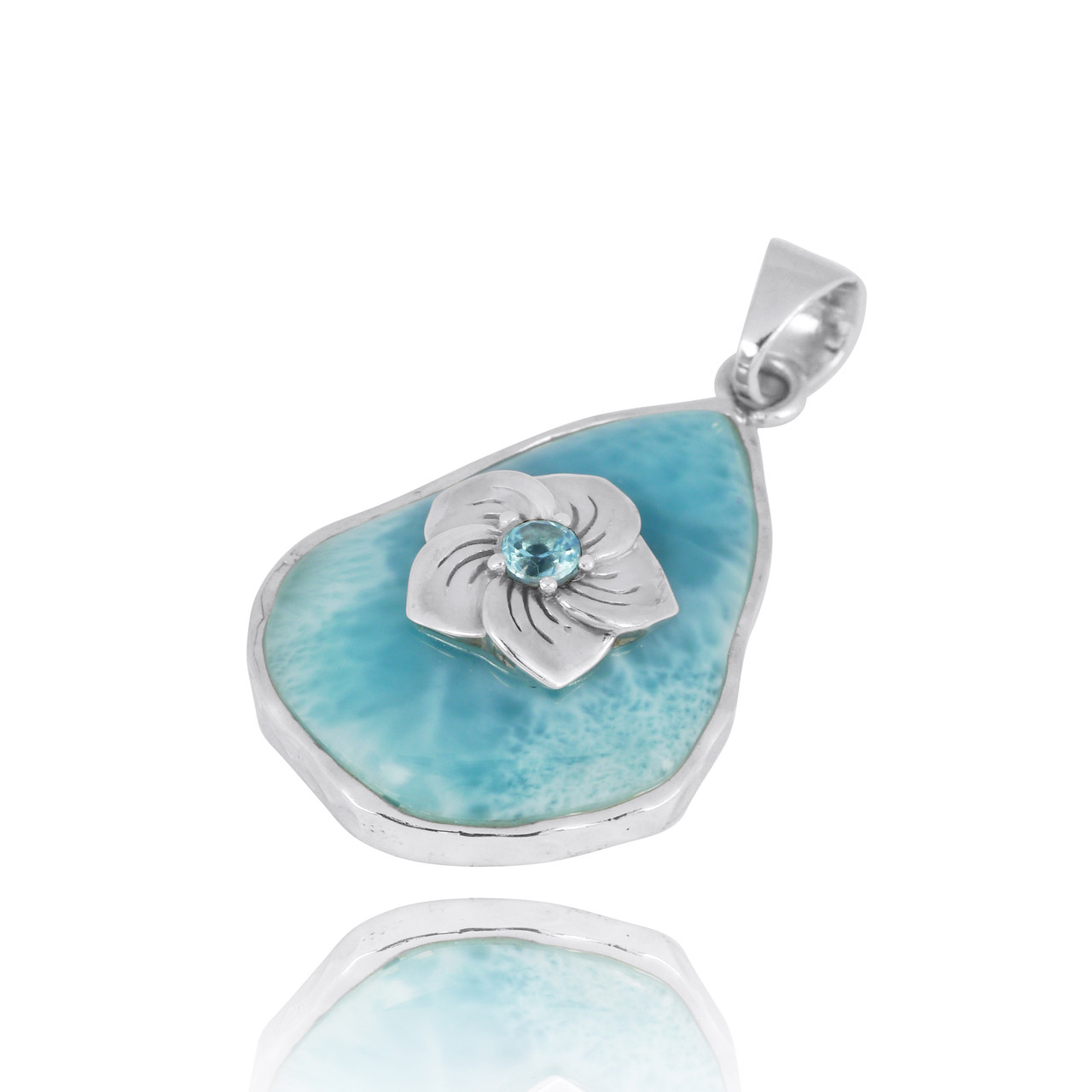 Larimar Pendant with Sterling Silver Hibiscus Flower and Swiss Blue Topaz