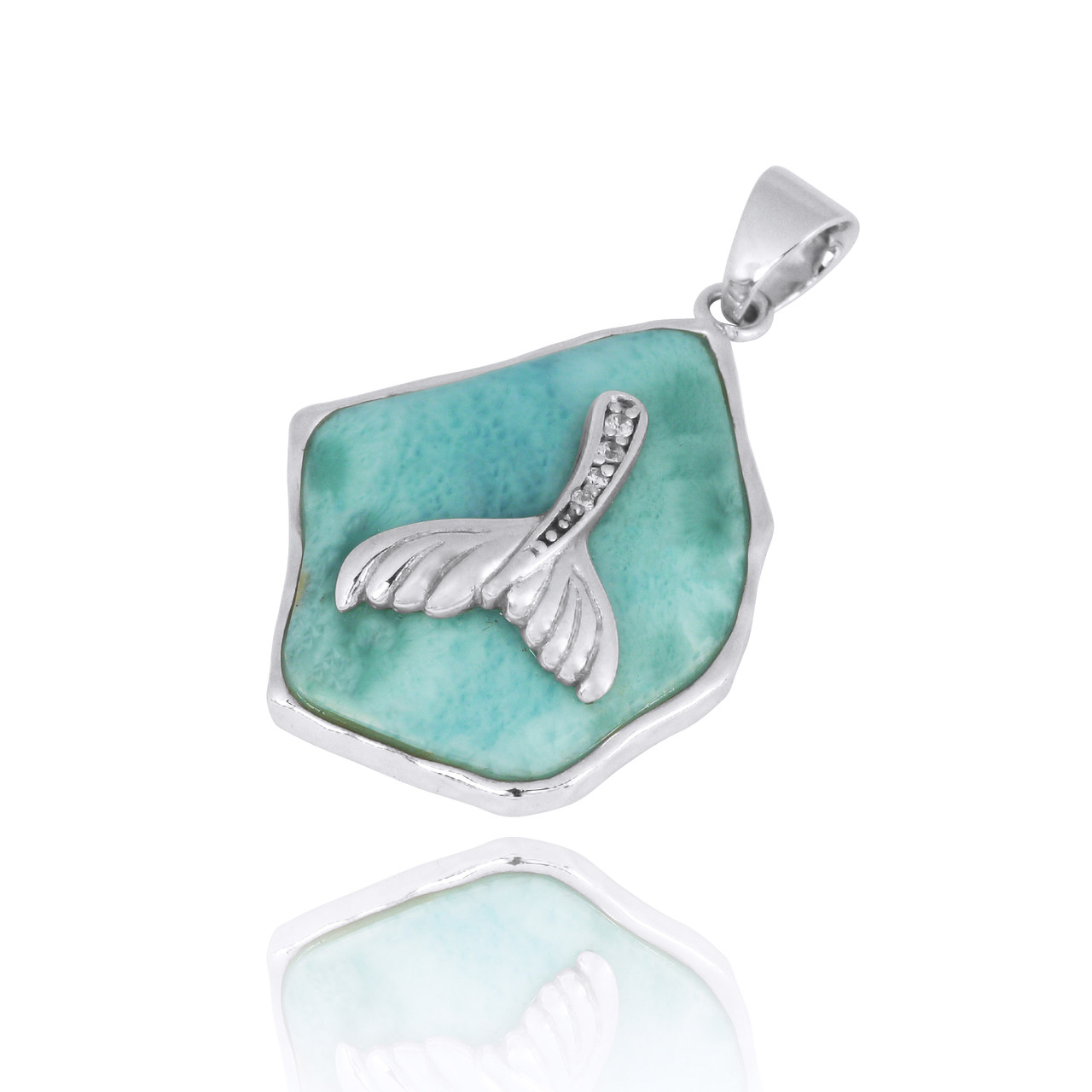 Larimar Pendant with Sterling Silver Whale Tail and White CZ
