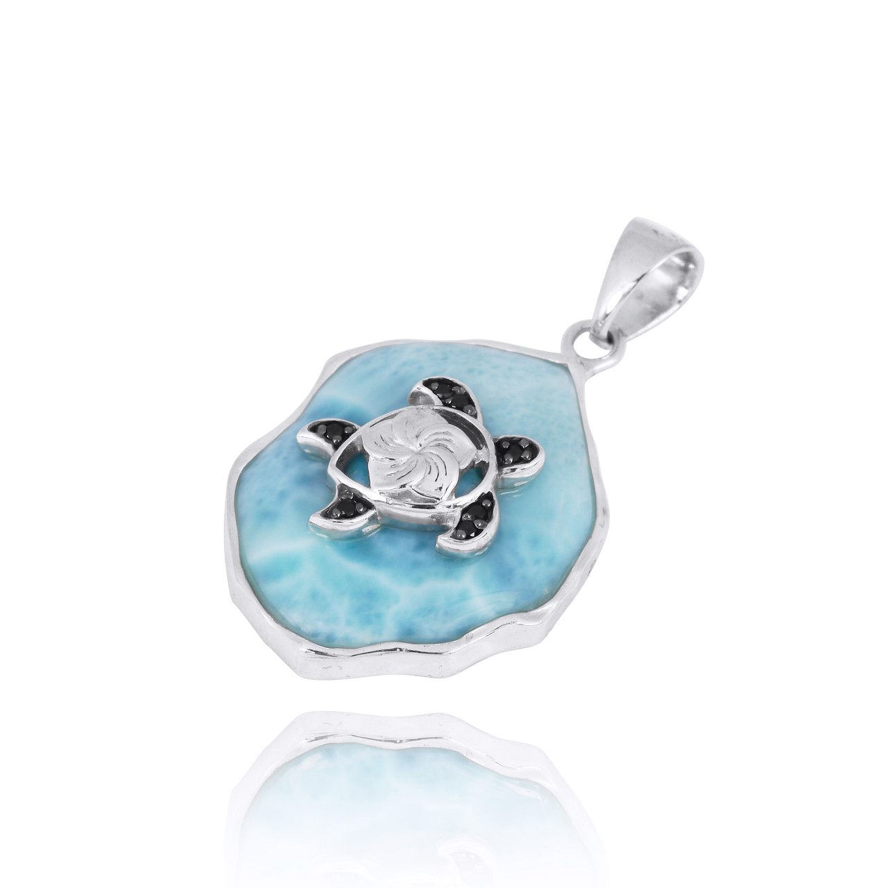 Larimar Pendant with Sterling Silver Turtle and Black Spinel
