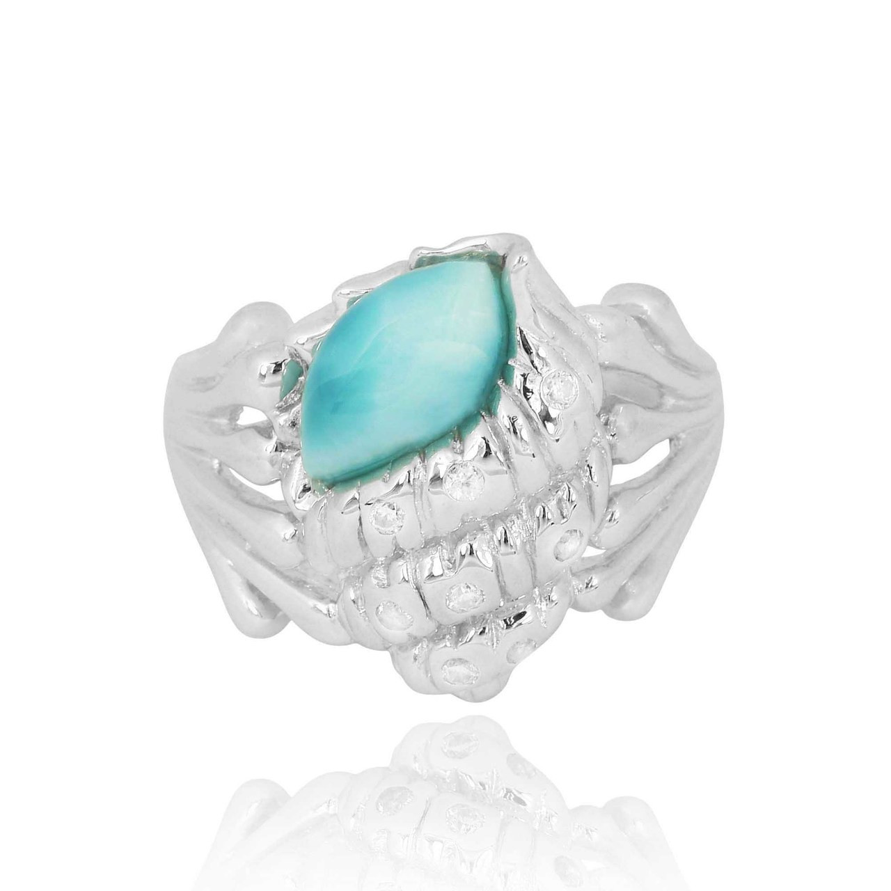 Sterling Silver Conch Shell Ring with Larimar