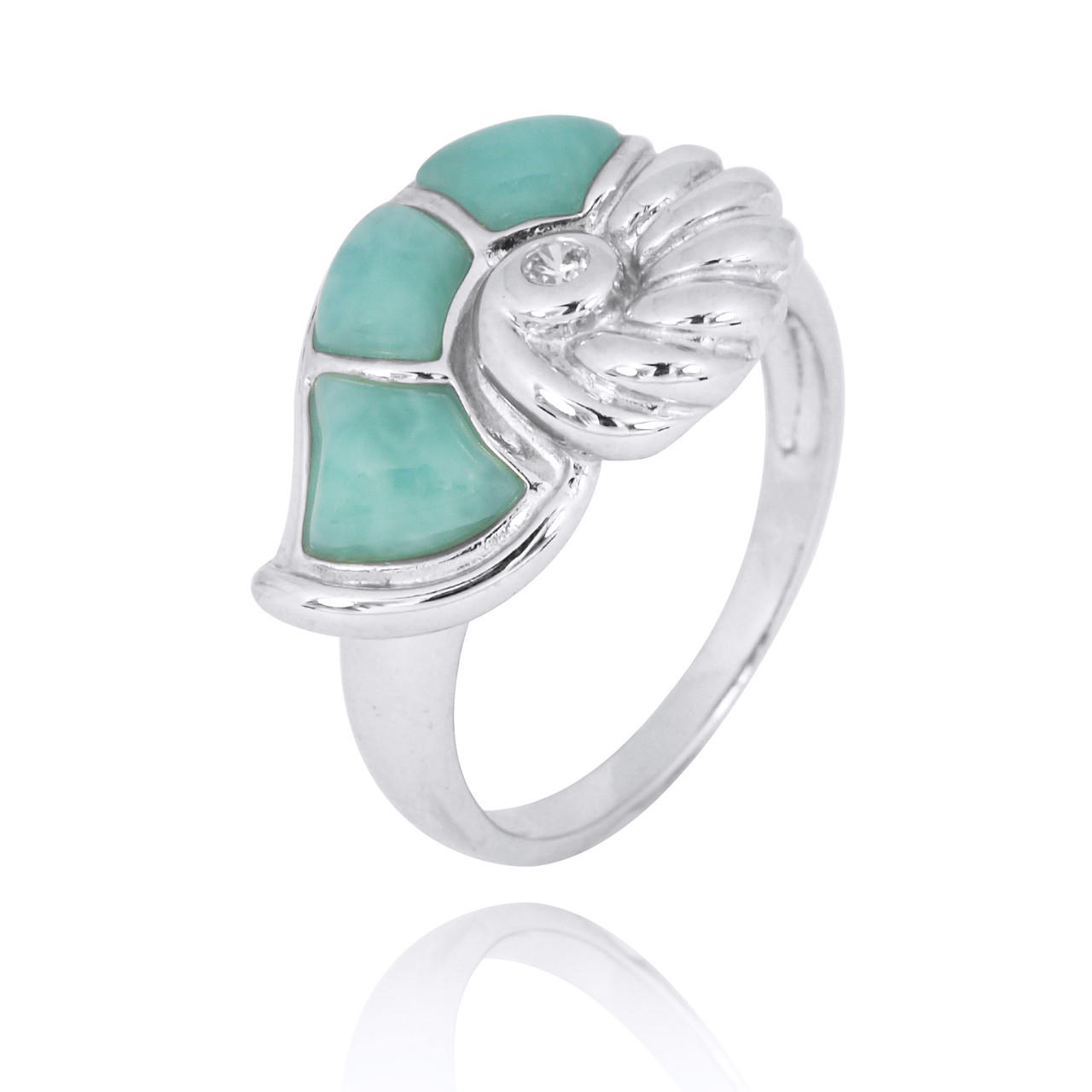 Sterling Silver Seashell Ring with Larimar and White CZ