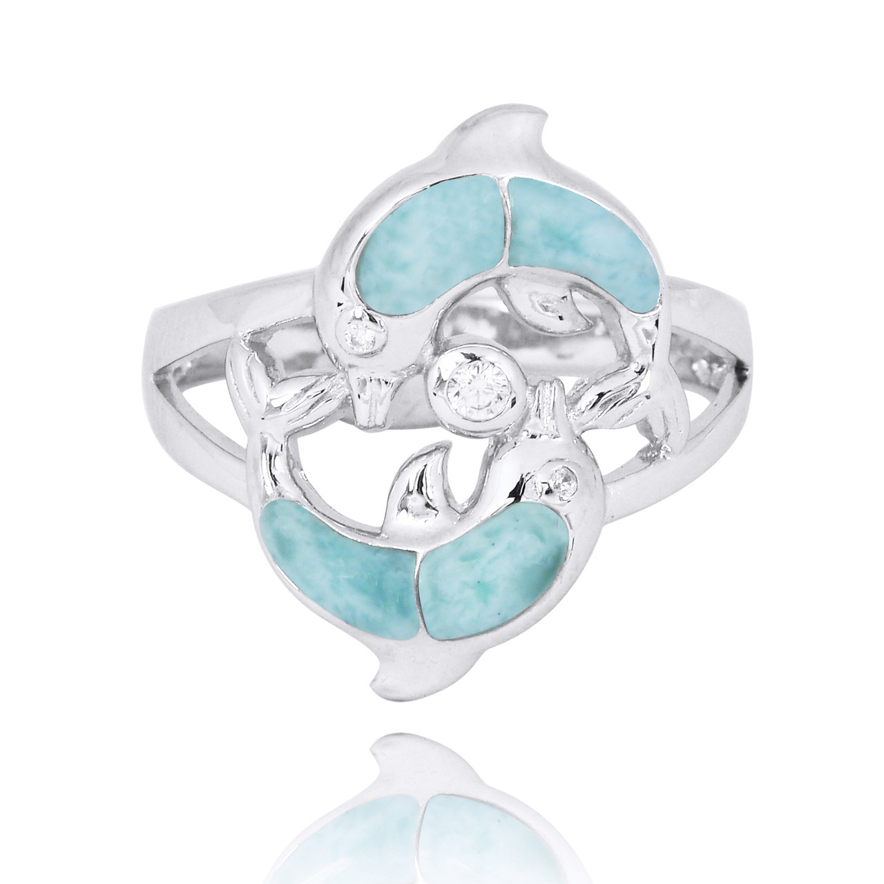 Playing Sterling Silver Dolphins Ring with Larimar and White CZ