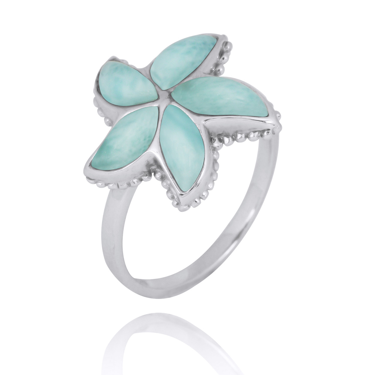 Sterling Silver Starfish Ring with Larimar