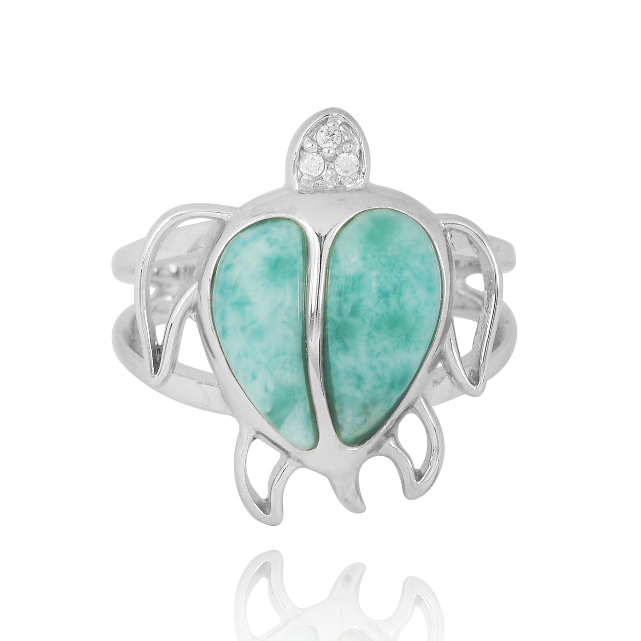 Sterling Silver Turtle Ring with Larimar and White CZ