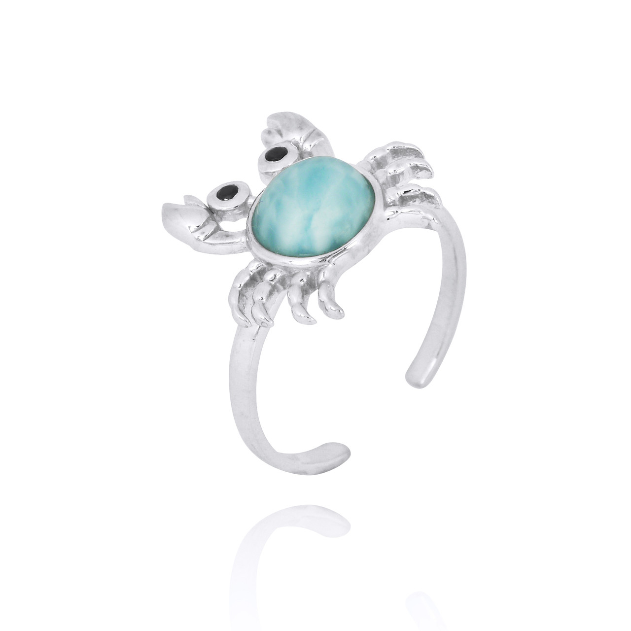 Sterling Silver Crab Ring with Larimar and Black Spinel