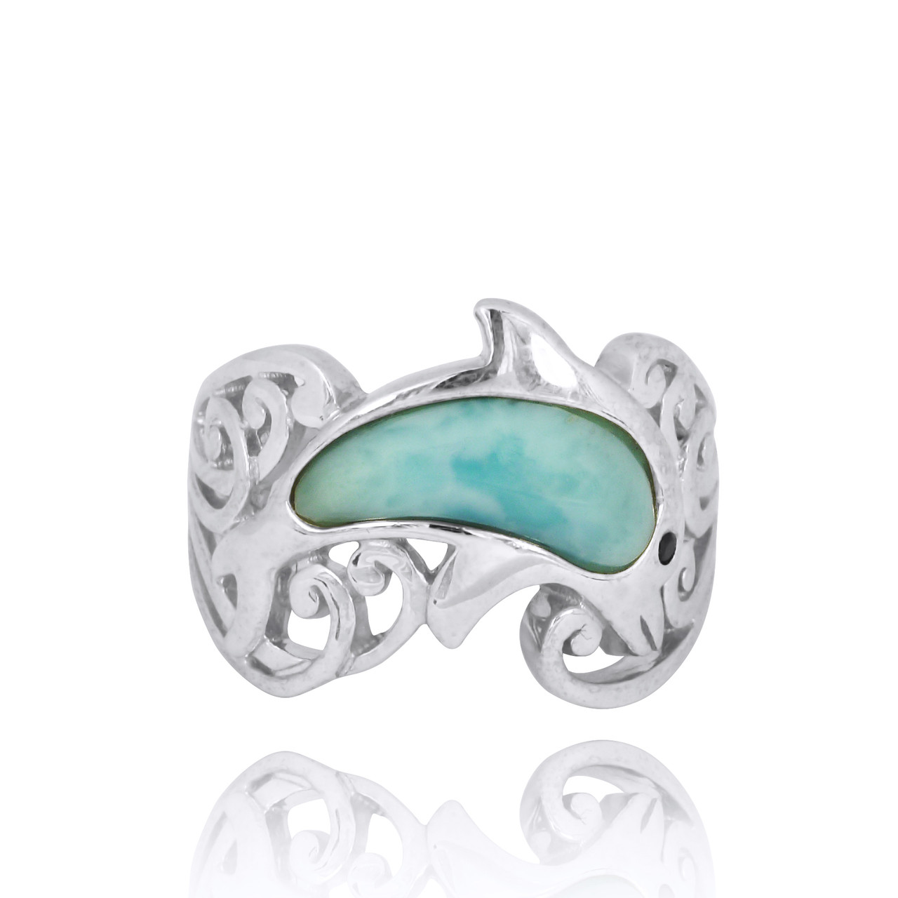 Sterling Silver Dolphin Ring with Larimar and Black Spinel