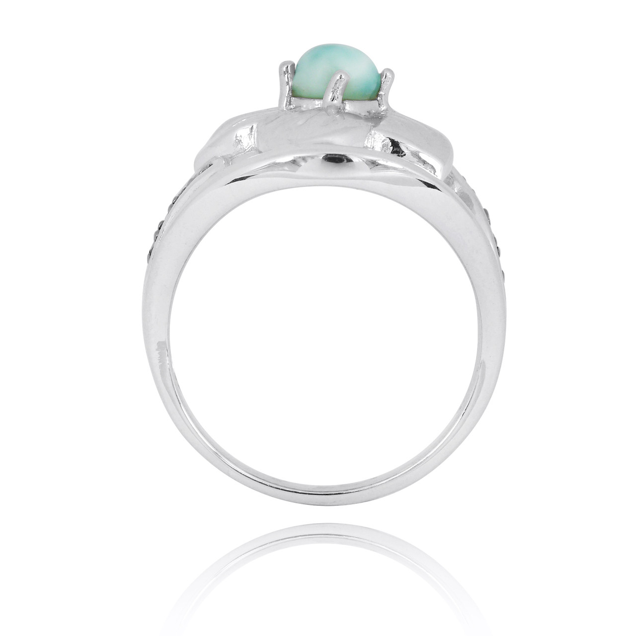 Sterling Silver Hibiscus Ring with Round Larimar and Black Spinel