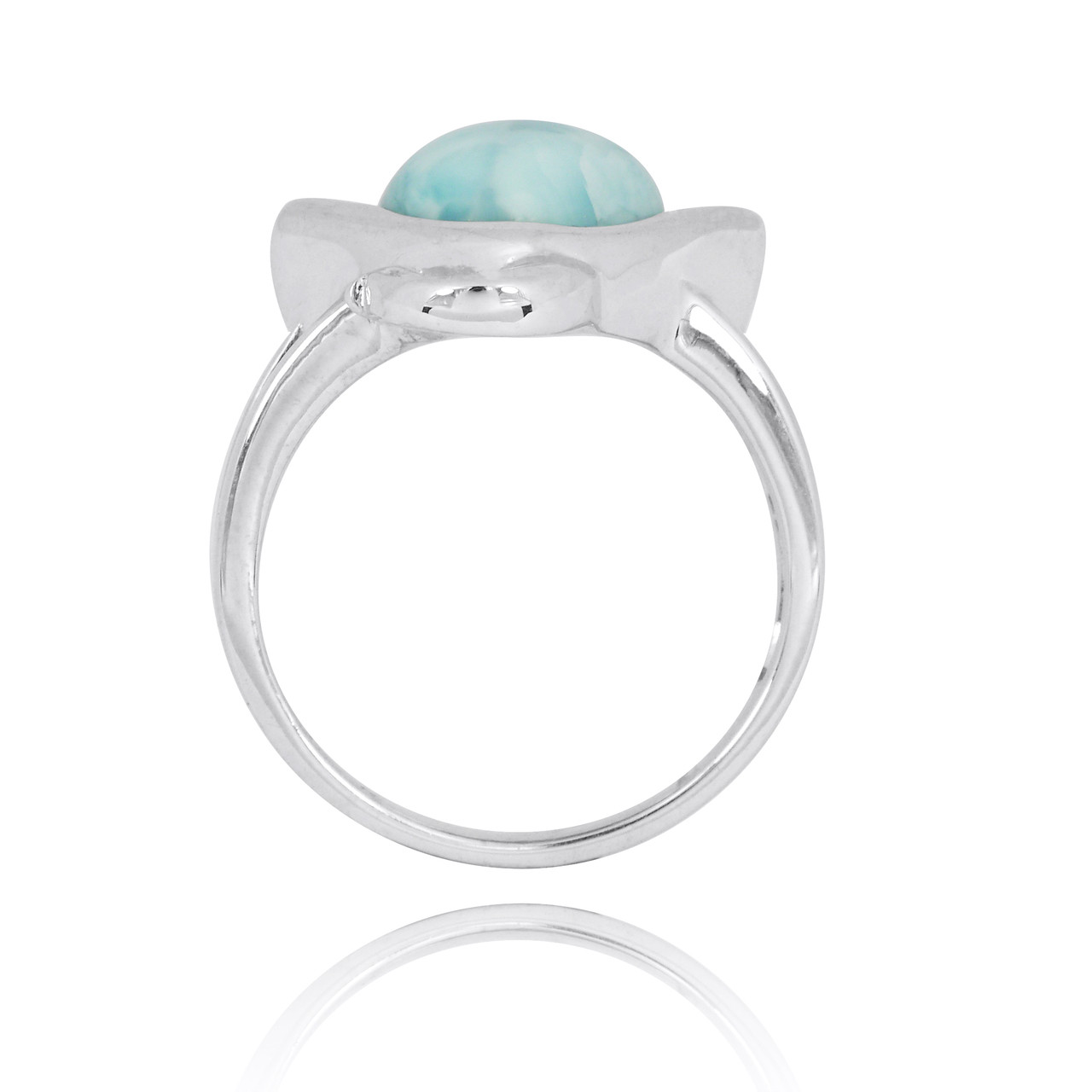 Sterling Silver Manta Ray Ring with Larimar and Black Spinel