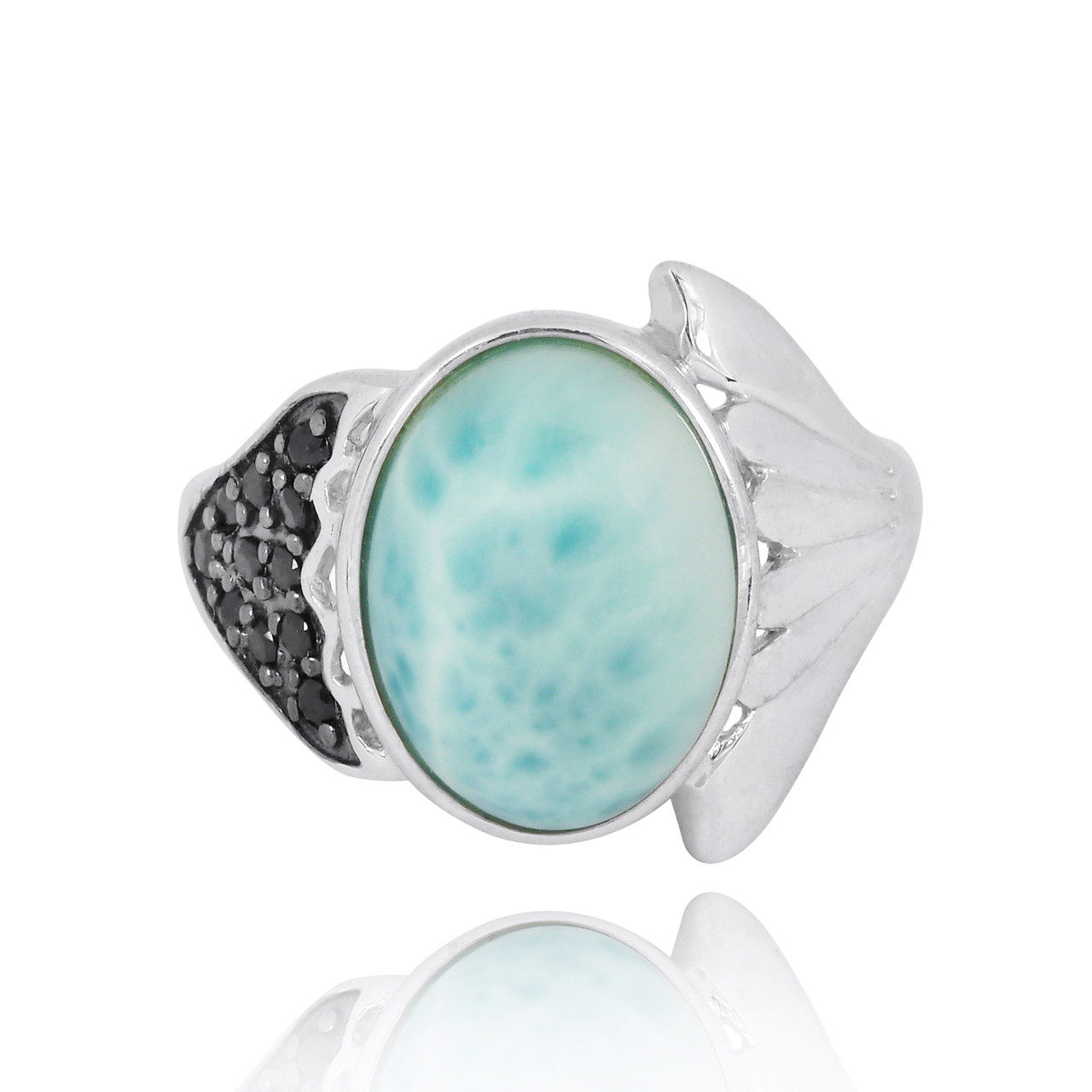 Sterling Silver Fin Ring with Larimar and Black Spinel