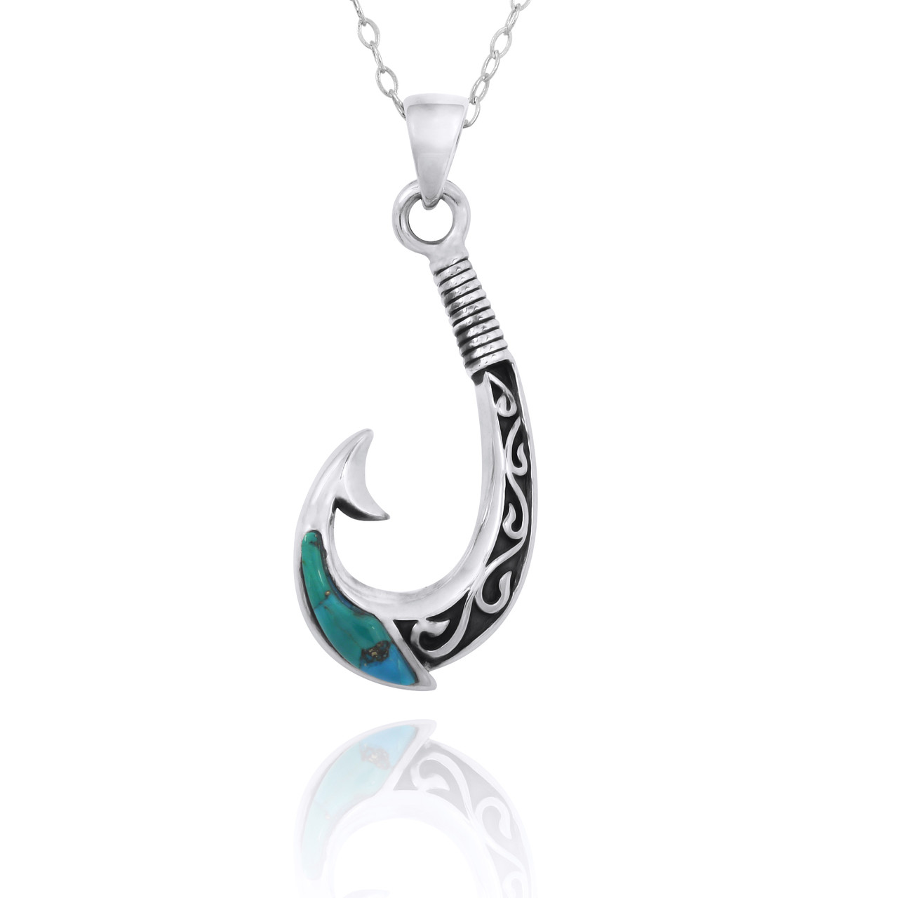 Maori Fishhook Pendant with Compressed Turquoise