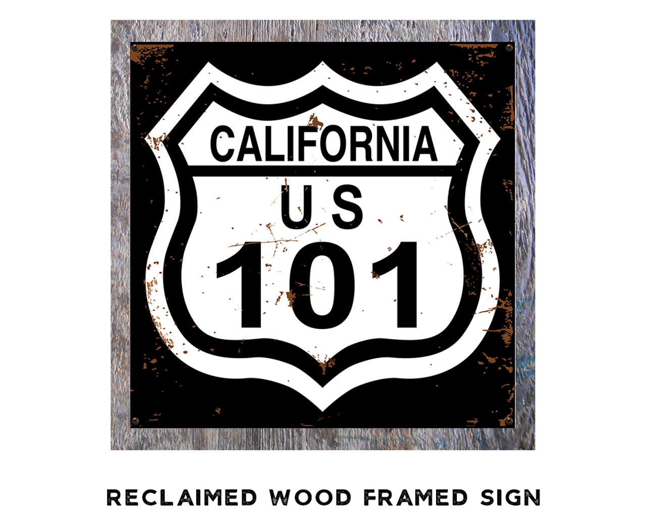 Highway 101 Metal Sign - Black and White