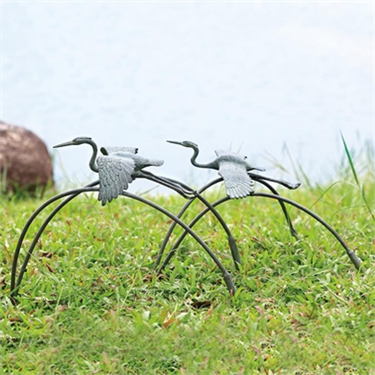 Cranes and Reeds Garden Pair