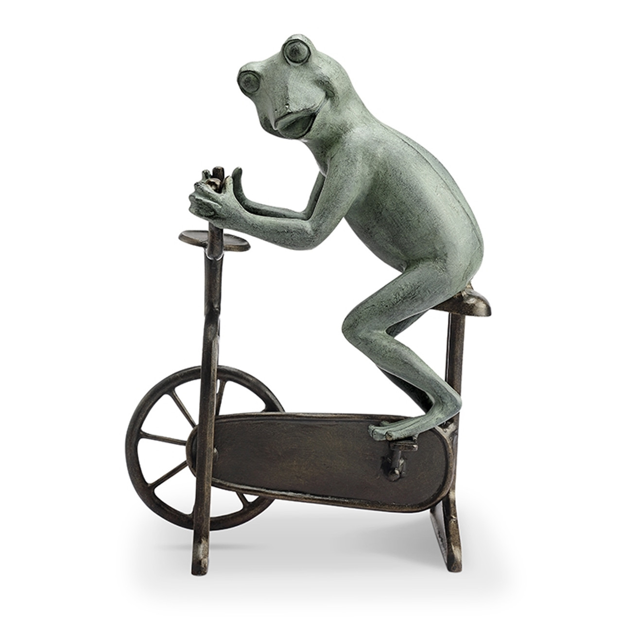 Workout Frog on Bicycle Garden Sculpture