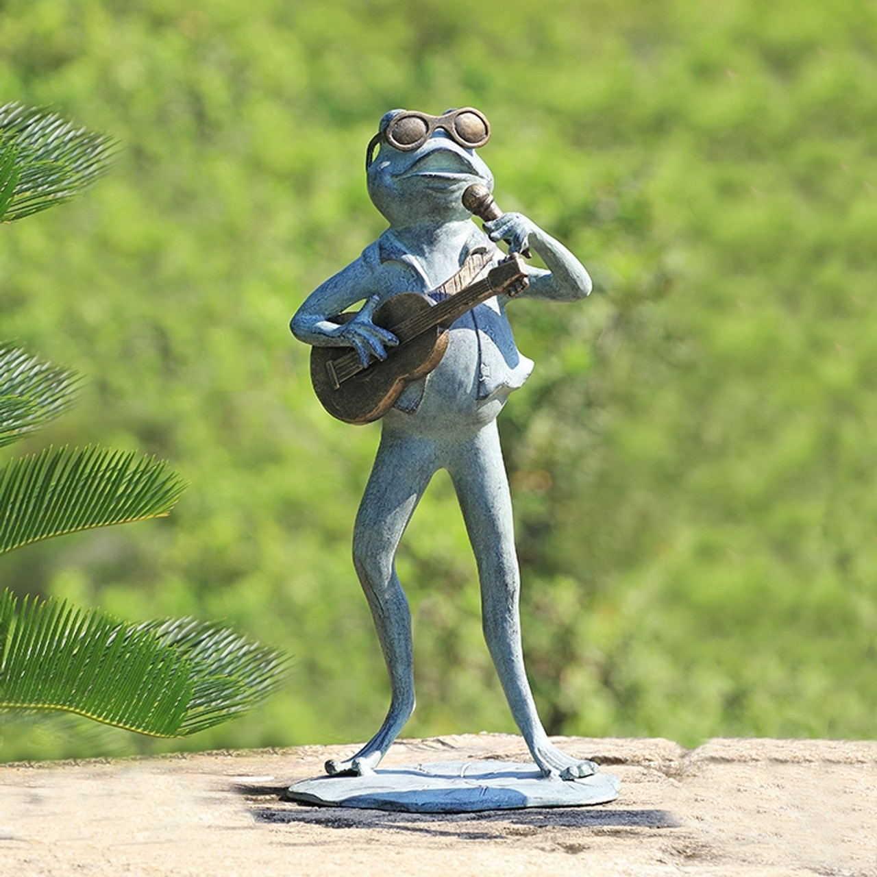 Rock Star Frog Garden Sculpture