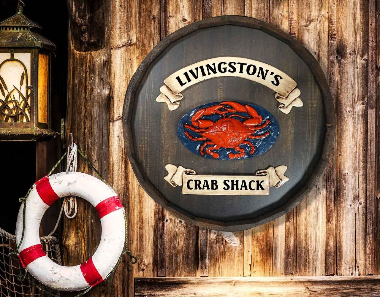 Crab - Quarter Barrel Sign - Personalized