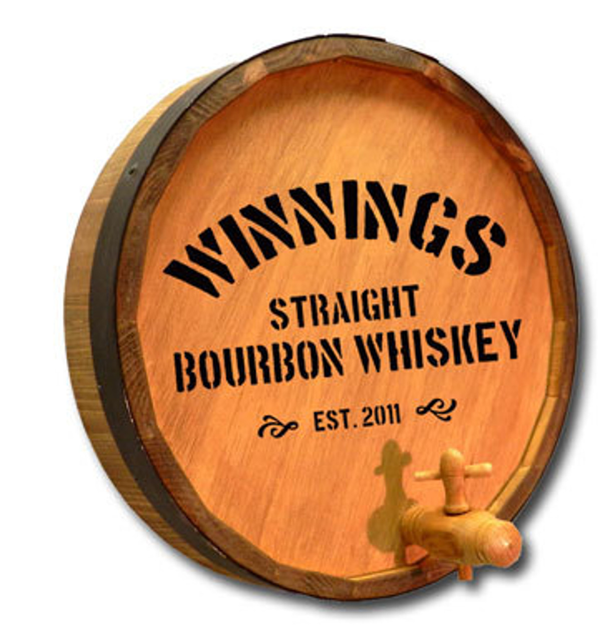 Distillery 2 - Quarter Barrel Sign with Spigot Sign - Personalized