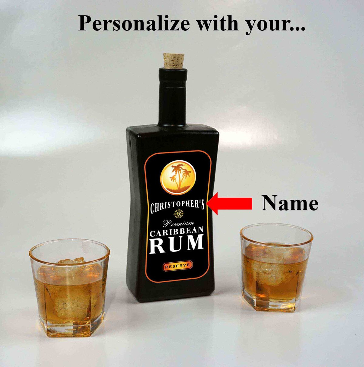 Caribbean Rum Black Glass Bottle - Personalized