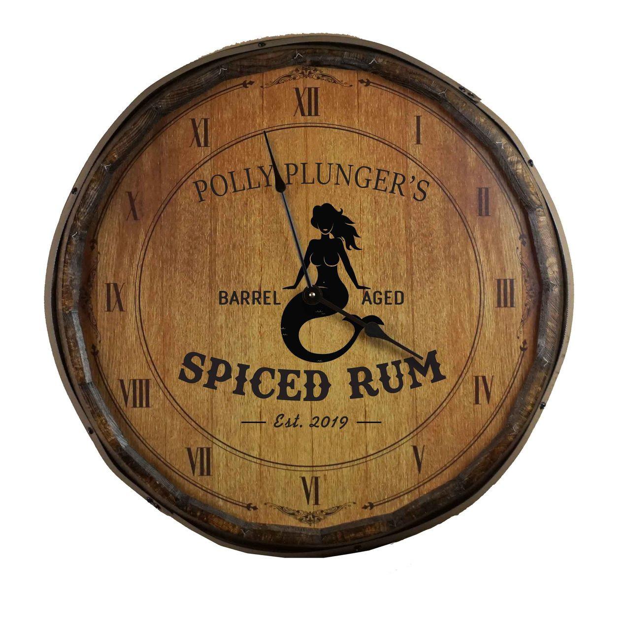 Quarter Barrel  Clock - Mermaid - Personalized