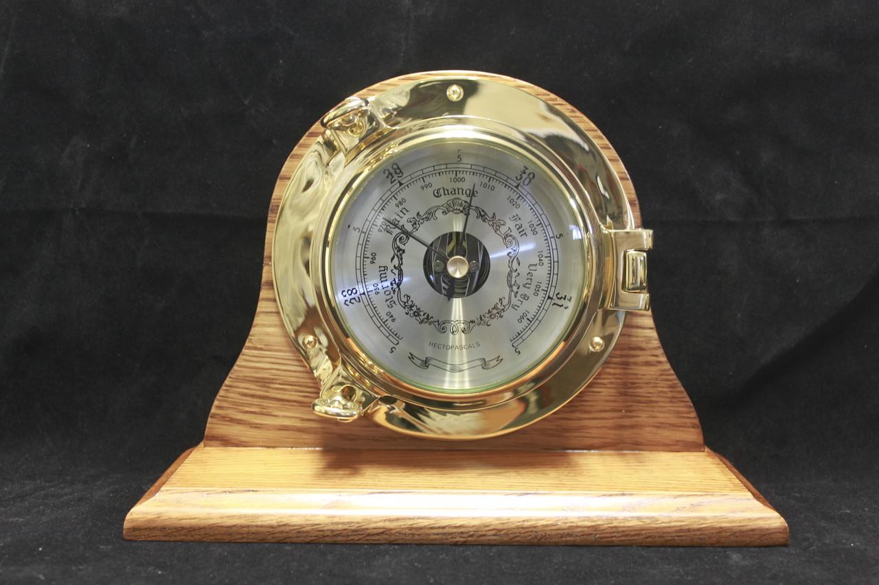 """Brass Porthole Weather Barometer 7.5"""" with Wood Base"""