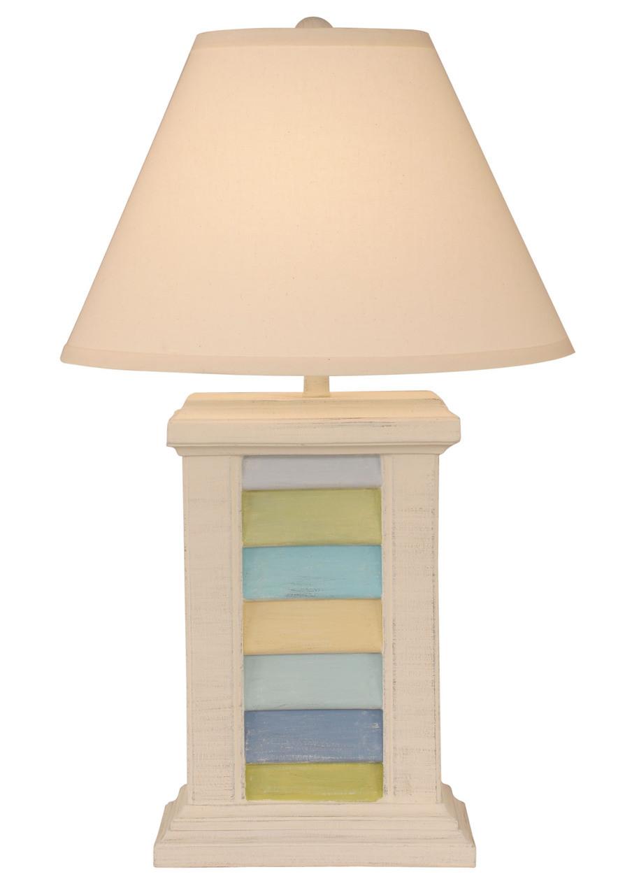 Multi Cottage Stripe Rectangle Shutter Table Lamp