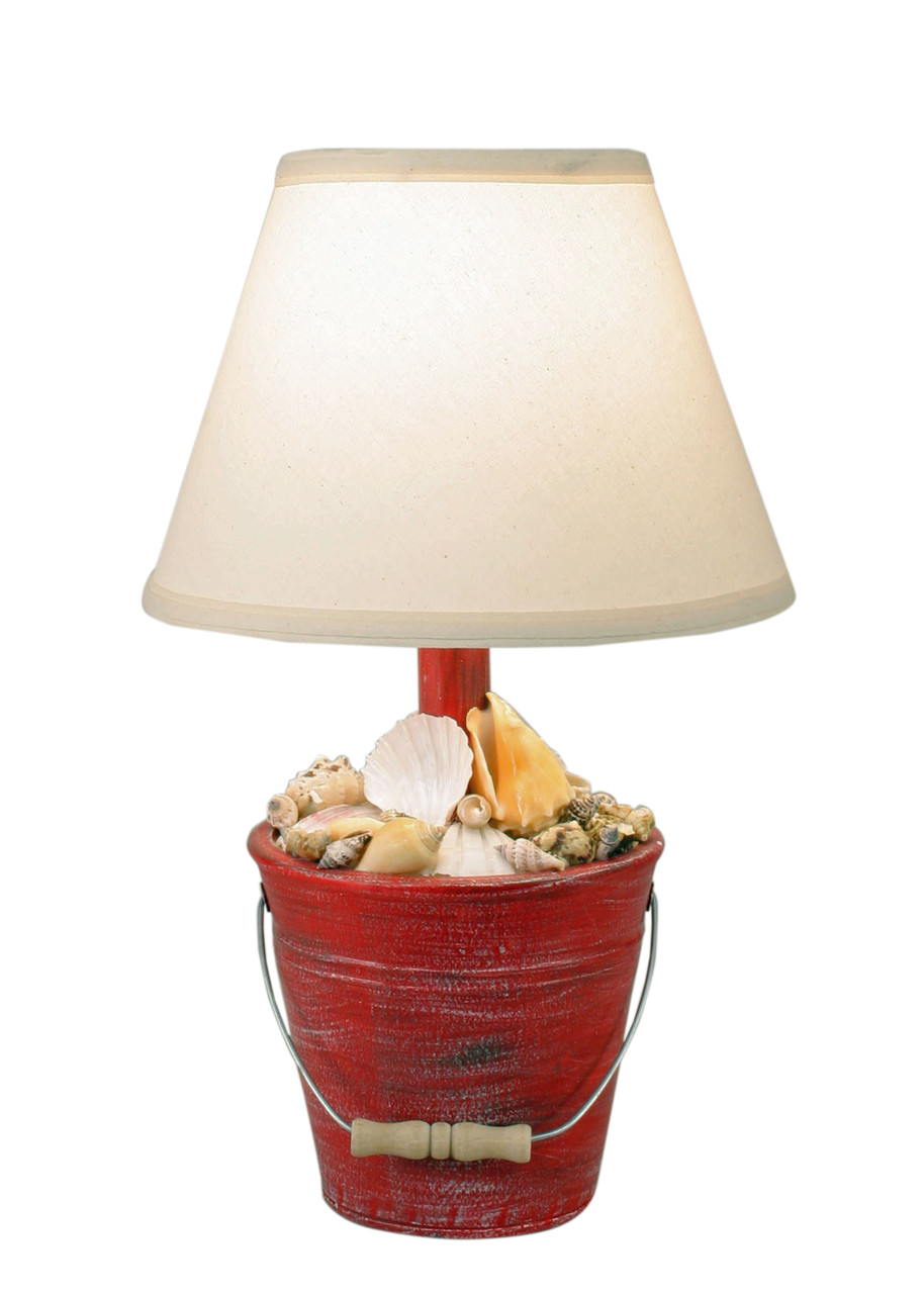 Cottage Classic Red Mini Bucket of Shells Accent Lamp