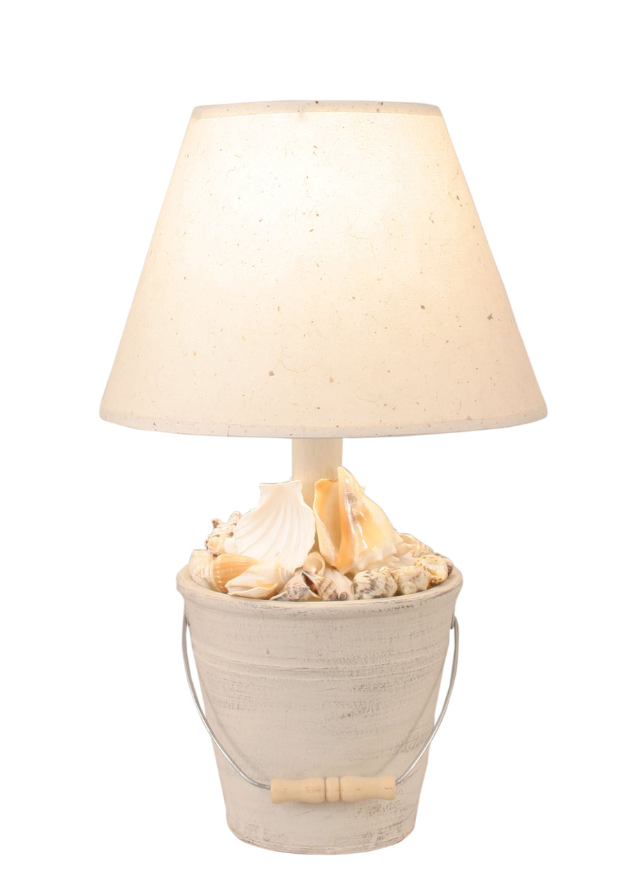 Cottage Mini Bucket of Shells Accent Lamp