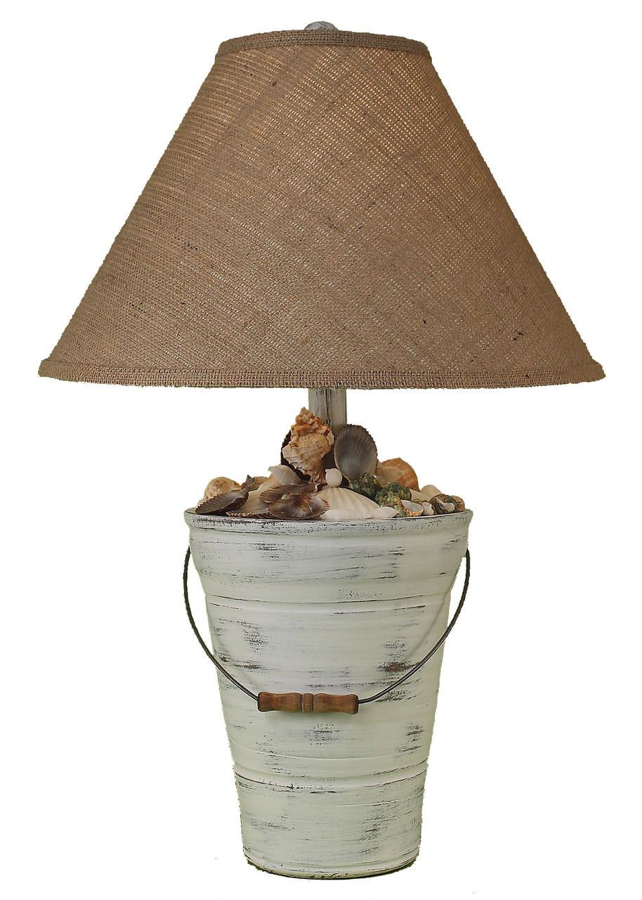 Shabby Light  Bucket of Shells Table Lamp