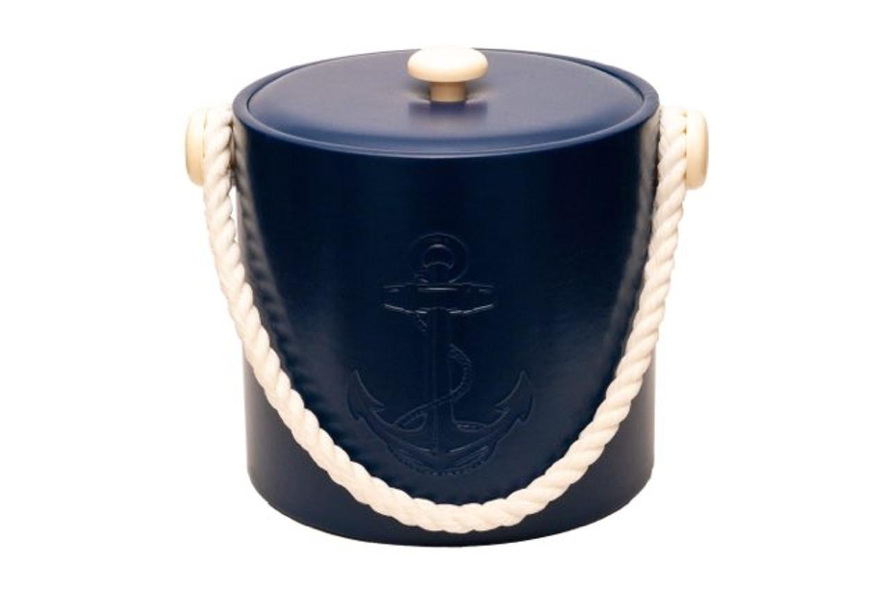 Blue Castilian Debossed Anchor Ice Bucket - 3qt