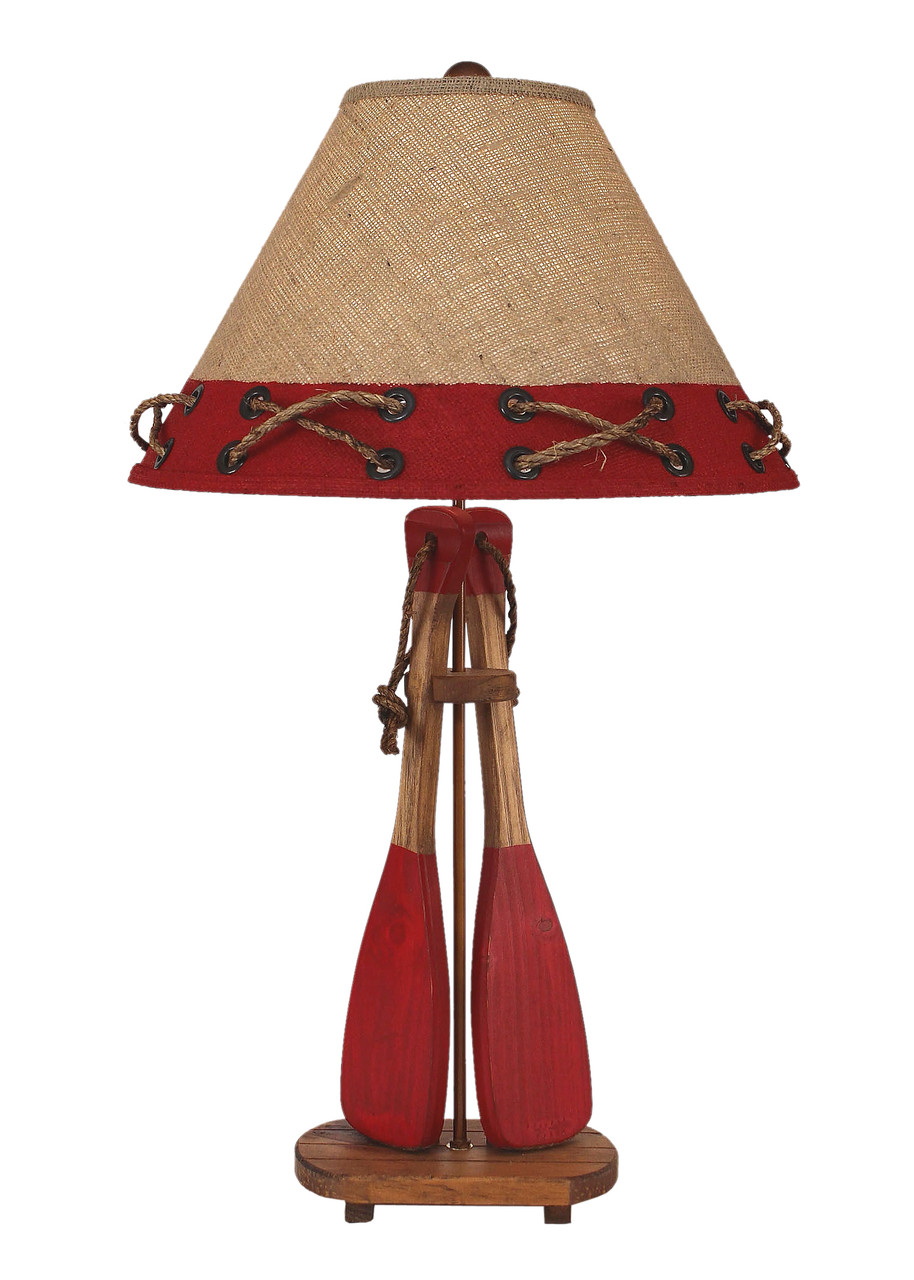 2-Boat Paddles with Rope Table Lamp - Red