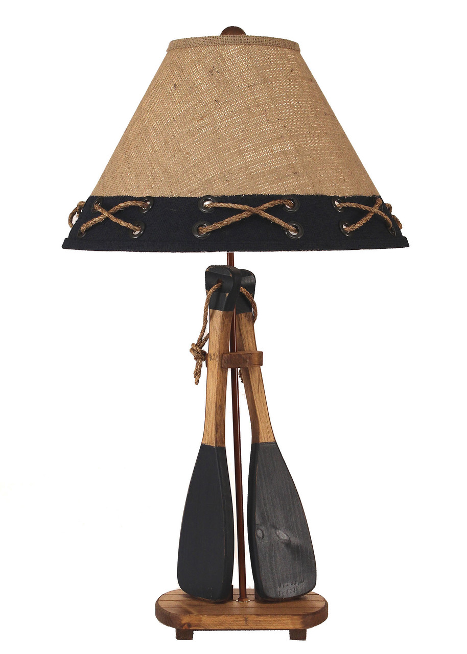2-Boat Paddles with Rope Table Lamp - Navy
