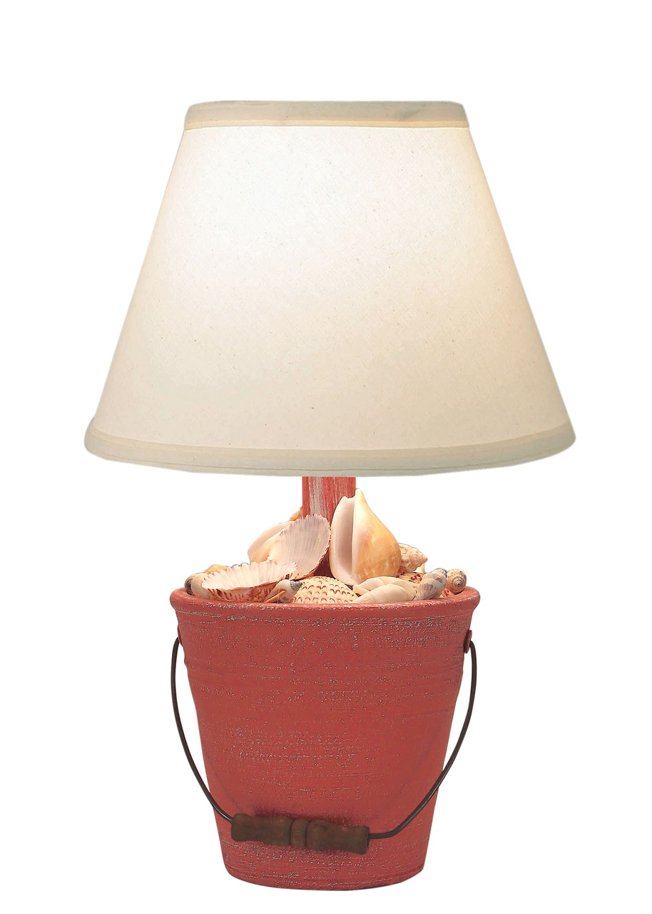 Weathered Mini Bucket of Shells Accent Lamp