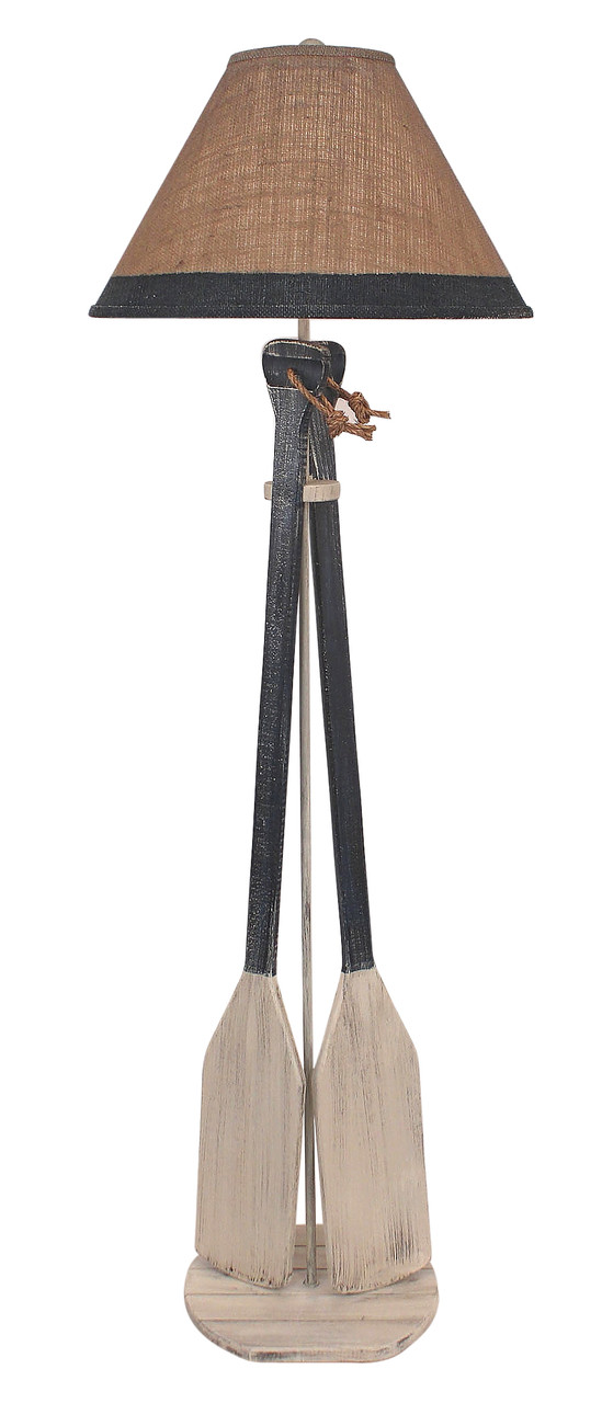 2-Paddles with Rope Floor Lamp - Navy
