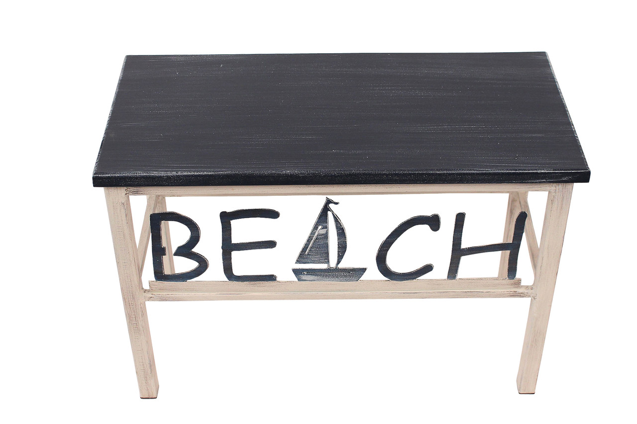 Beach Bench with Sailboat Accent - Cottage Navy