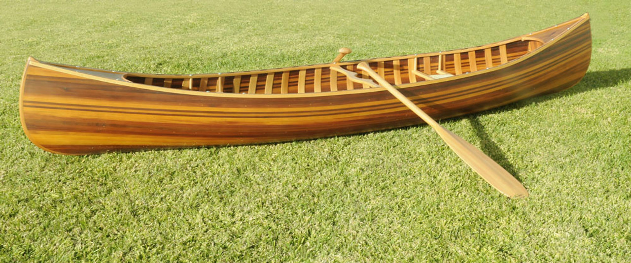 Wooden Canoe With Ribs and  Curved Bow -  Matte -  10'