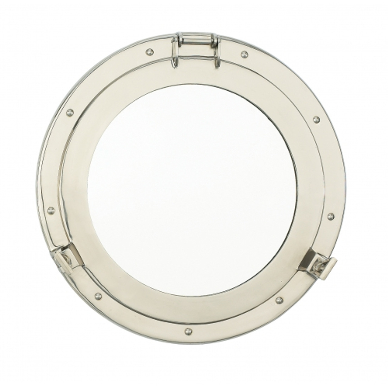 Porthole Mirror Solid Brass - Nickel Finish  12""