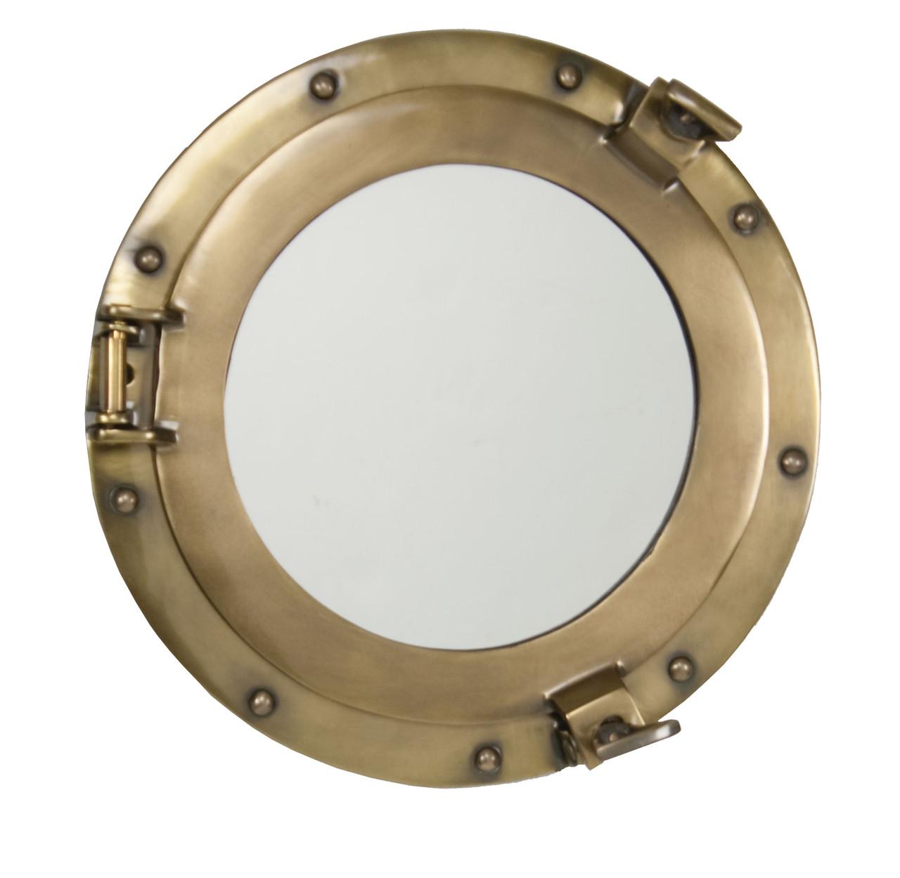 """Porthole Mirror Aluminum - Bronze Finish 15"""""""